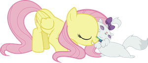 Fluttershy and Opalescence by dangerousmoving