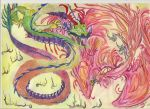 DRAGON VS PHEONIX by ozarkarmadillo