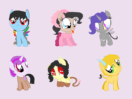 Discord X Mane Six Foals by Wolfiegal111