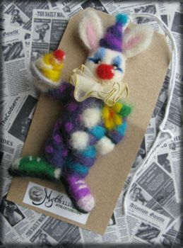 Funny Bunny Needle Felted Brooch by Unfairytales