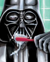 Vader Brushes his Teeth by femjesse