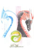 Black and White Dragons by SylverTrinity