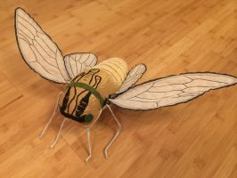 Cicada Soft Sculpture in Yellow and Gold by mollyburgess