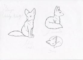 Fenec foxes lineart by Lulabys-Melody