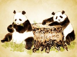 Panda Welcome by IngridTan