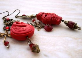 Oriental Cinnabar Earrings by Aranwen