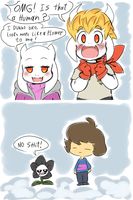 The Goat-blings Meet Frisk And Flowey!Gaster by thegreatrouge