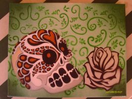 Calavera with floral filligree by sigh-less