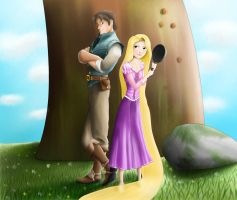 Rapunzel and Eugene by Dinhosaur
