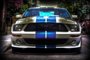Mustang Shelby 500 blue stripe HDR by RockRiderZ