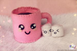 Kawaii coffee cup and marshmallows by Pattie-cherry