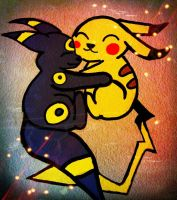 Umberon And Picachu by MatchCense