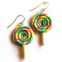 Rainbow Lollipop Earrings by FatallyFeminine