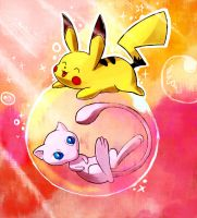 Mew and Pikachu by LazyAmphy