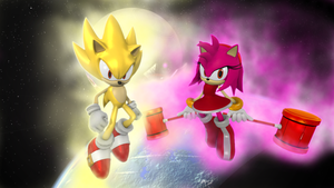 Super Sonic and Super Amy by Nictrain123