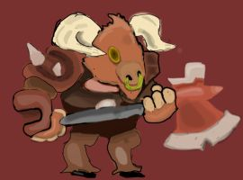 Heroes of The Frontier: Kahz The Minotaur by bazookatortise