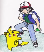 Ash and Pikachu by thereisnoend01