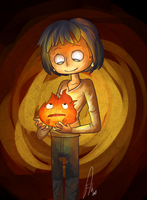 Howl and Calcifer by Frammur