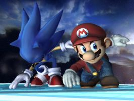Mario and Sonic by nintenerd