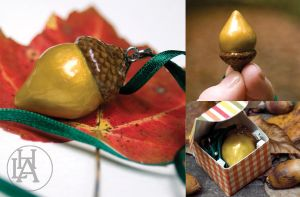 gold acorn necklace by amberhlynn