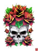 Skull and Old skool roses by funkt-green