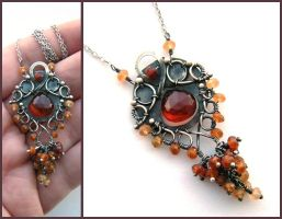 chalcedony hessonite necklace by annie-jewelry