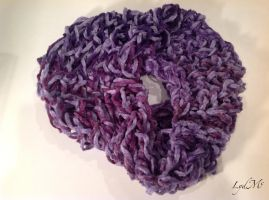 Arm Knitting Purple Chenille Infinity Scarf by LydMc