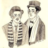 Holmes and Watson looking dashing by emmatleena