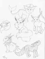 Eevee Family sketch by YoukaiOkami