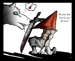 PYRAMID HEAD is a chicken leg by macawnivore