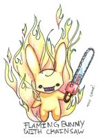 Flaming Bunny With Chainsaw by fluffys-inu