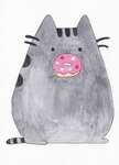 Pusheen and Donut by lonelystarlight