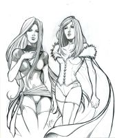 Phoenix and White Queen Sketch by Romax25