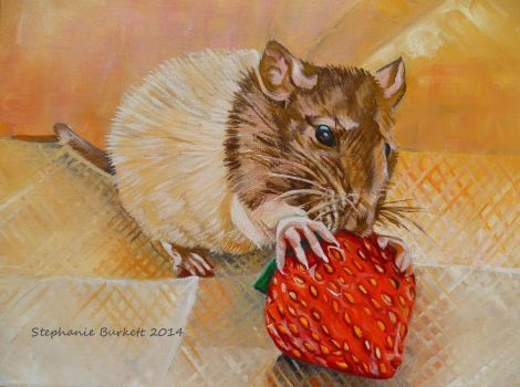 Rat with Strawberry by Spangledstars