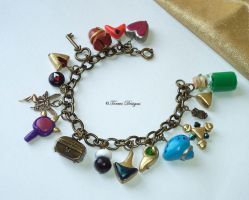 Ocarina of Time Charm Bracelet Antique Gold Sculpt by TorresDesigns