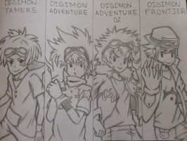 Digimon Seasons 1-4 leaders by CheerfulDonut