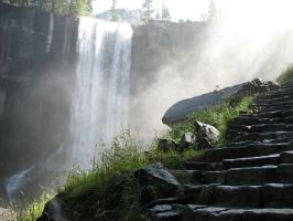 Free Stock Waterfall Stairs 2 by tursiart