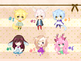 [ OPEN // 3 LEFT ] set price kemonomimi adoptables by pacchuli