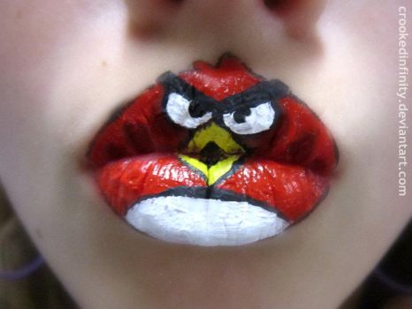 Angry Bird Lips by crookedinfinity