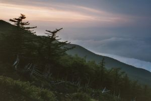 Fuji mountainside at evening by silentsketcher