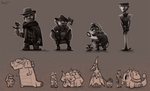 Character Design .3 - Cowboys and Dinosaurs by Cryptid-Creations
