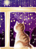 Cat looking at night by MessiahDeath