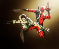 Deadpool VS Daken by COLOR-REAPER