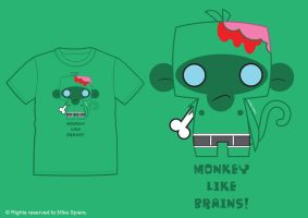 ZOMBIE MONKEY TEE by spiers84