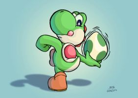 Yoshi learnt to throw eggs by elmago6000