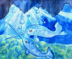 Narwhals, narwhals, swimming in the ocean by Radioactive-Ink