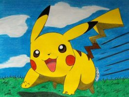 Pikachu is running to Ash by Ash-Misty-Pikachu