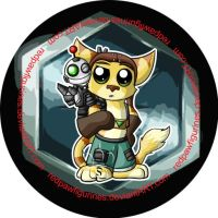 Chibi Ratchet and Clank Badge by RedPawDesigns