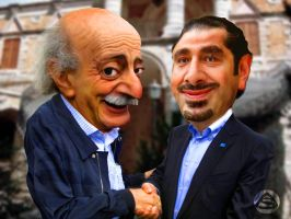Caricature Jumblat and Hariri by asendos
