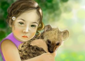 the girl and the hyena by Trutze